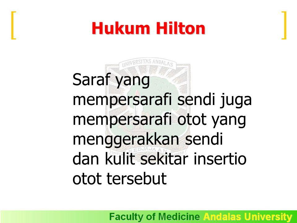 Hukum Hilton Saraf yang mempersarafi sendi juga mempersarafi otot yang menggerakkan sendi dan kulit sekitar insertio otot tersebut