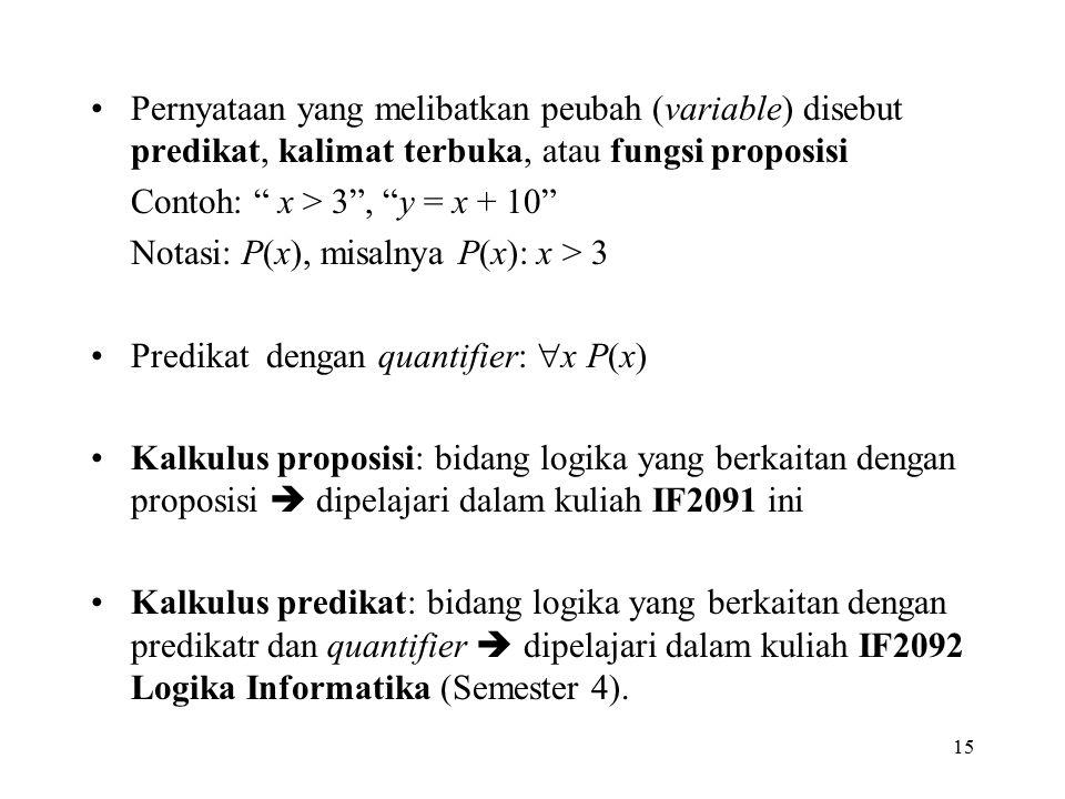 """Pernyataan yang melibatkan peubah (variable) disebut predikat, kalimat terbuka, atau fungsi proposisi Contoh: """" x > 3"""", """"y = x + 10"""" Notasi: P(x), mis"""
