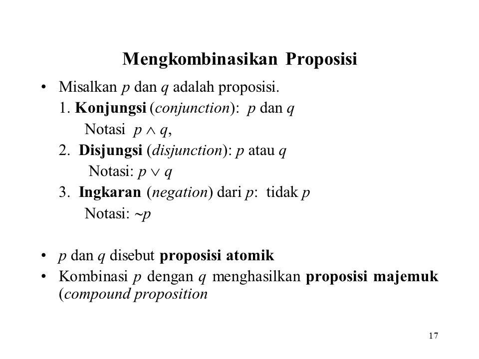 17 Mengkombinasikan Proposisi Misalkan p dan q adalah proposisi. 1. Konjungsi (conjunction): p dan q Notasi p  q, 2. Disjungsi (disjunction): p atau