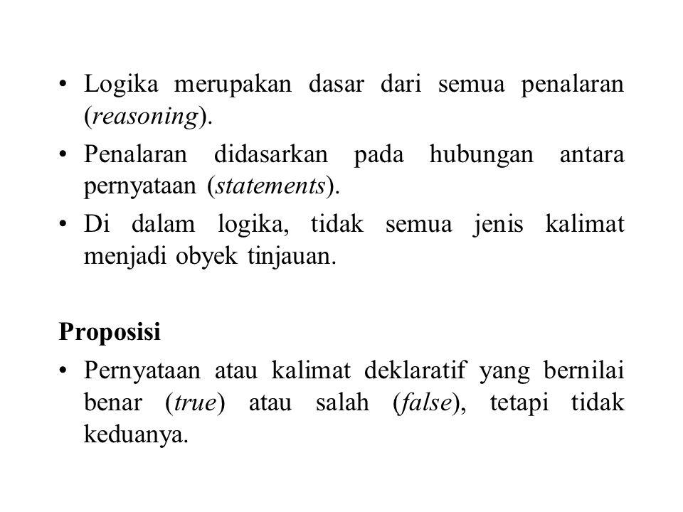 Logika merupakan dasar dari semua penalaran (reasoning). Penalaran didasarkan pada hubungan antara pernyataan (statements). Di dalam logika, tidak sem