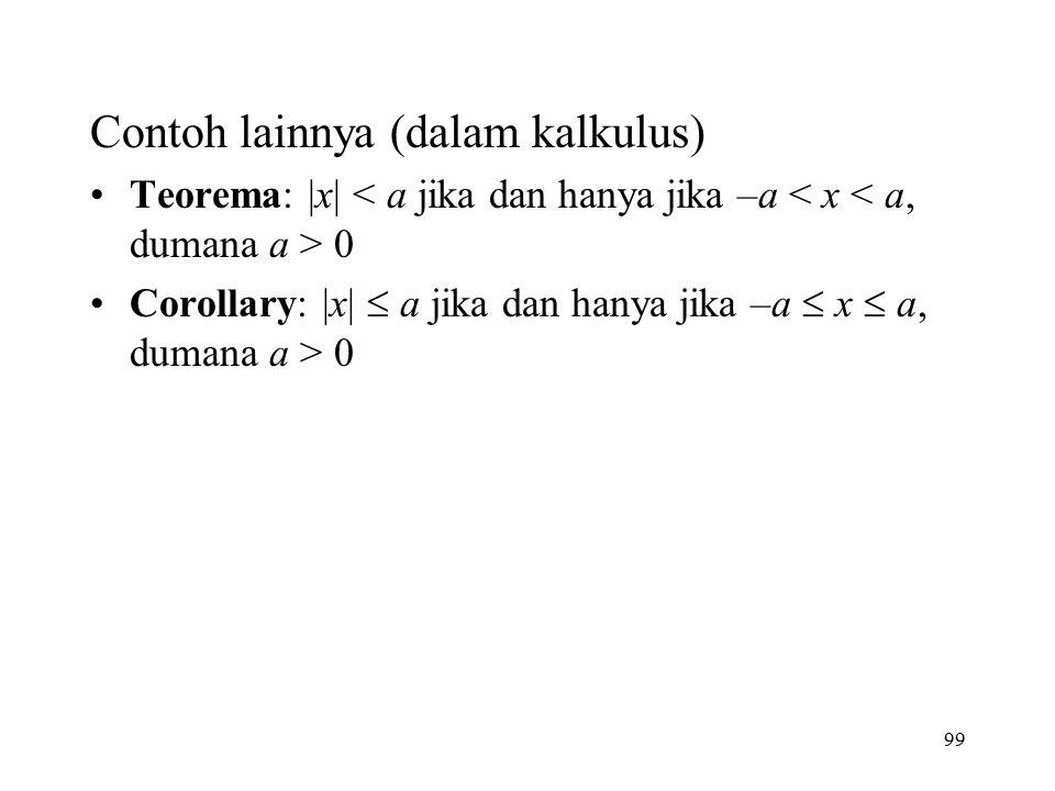 99 Contoh lainnya (dalam kalkulus) Teorema: |x| 0 Corollary: |x|  a jika dan hanya jika –a  x  a, dumana a > 0