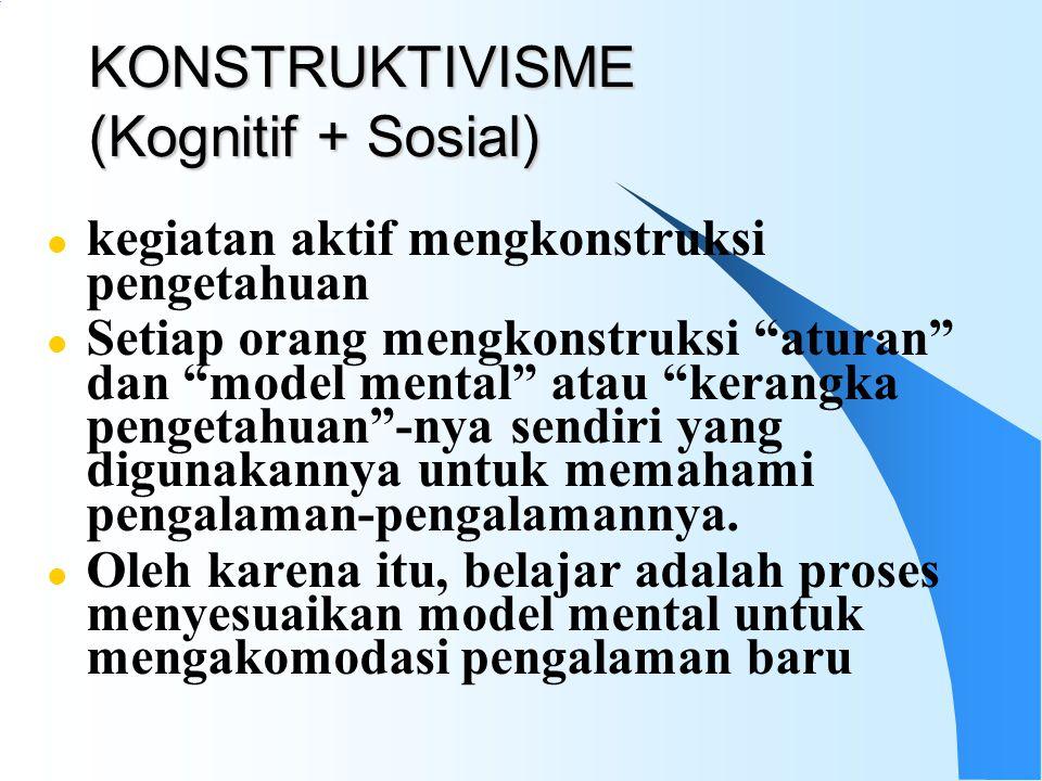 KONSTRUKTIVISME (Kognitif + Sosial) l kegiatan aktif mengkonstruksi pengetahuan l Setiap orang mengkonstruksi aturan dan model mental atau kerangka pengetahuan -nya sendiri yang digunakannya untuk memahami pengalaman-pengalamannya.