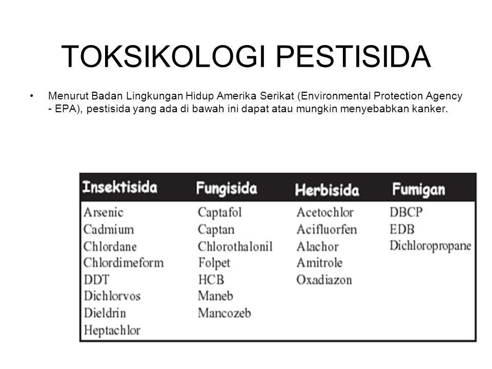 Menurut Badan Lingkungan Hidup Amerika Serikat (Environmental Protection Agency - EPA), pestisida yang ada di bawah ini dapat atau mungkin menyebabkan kanker.