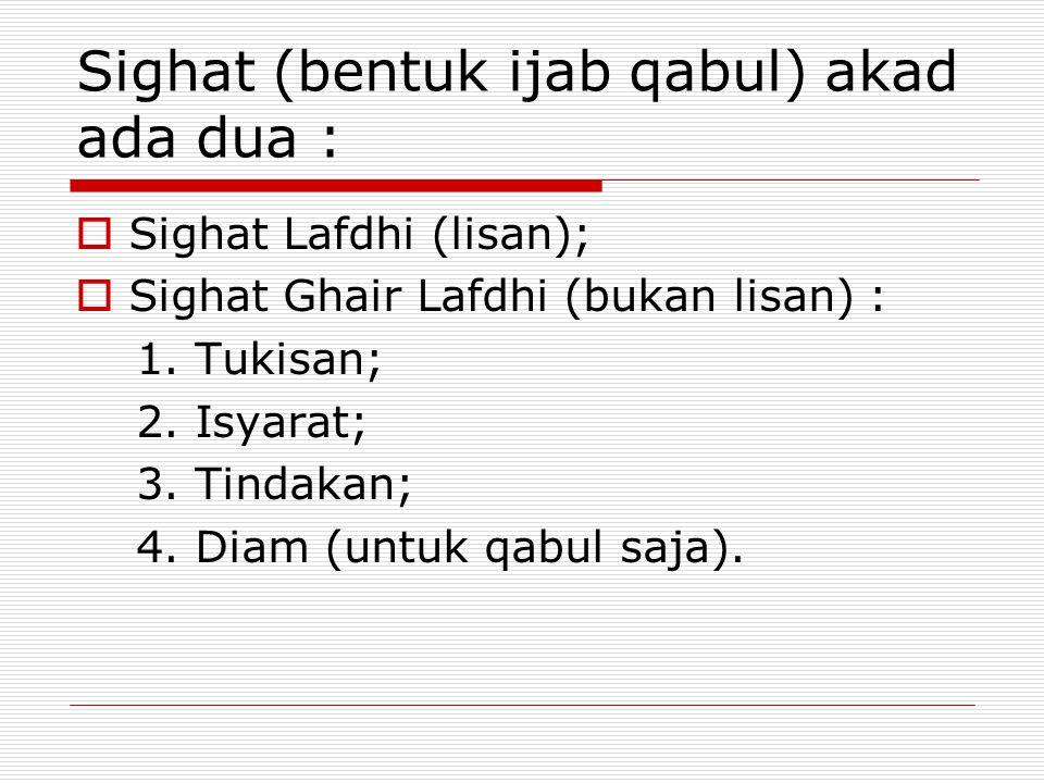 Sighat (bentuk ijab qabul) akad ada dua :  Sighat Lafdhi (lisan);  Sighat Ghair Lafdhi (bukan lisan) : 1.