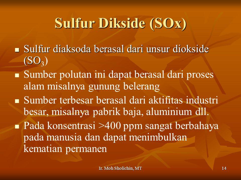Ir. Moh Sholichin, MT14 Sulfur Dikside (SOx) Sulfur diaksoda berasal dari unsur diokside (SO Sulfur diaksoda berasal dari unsur diokside (SO 3 ) Sumbe
