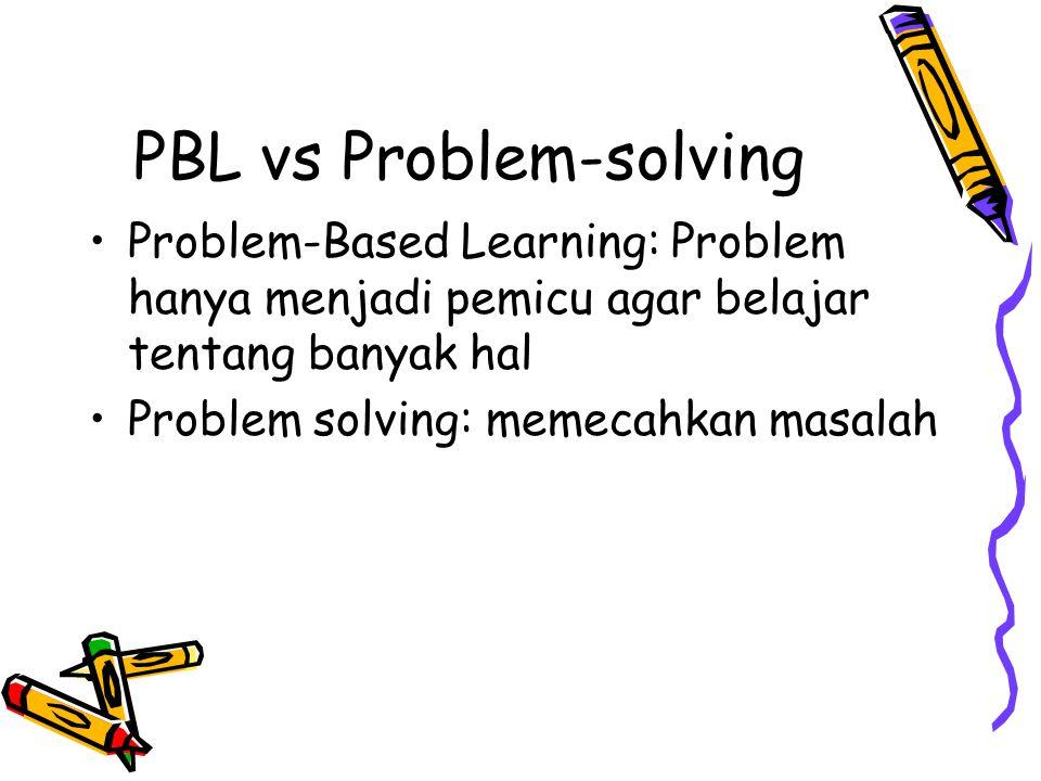 PBL vs Problem-solving Problem-Based Learning: Problem hanya menjadi pemicu agar belajar tentang banyak hal Problem solving: memecahkan masalah
