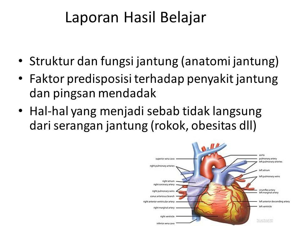 Laporan Hasil Belajar Struktur dan fungsi jantung (anatomi jantung) Faktor predisposisi terhadap penyakit jantung dan pingsan mendadak Hal-hal yang me