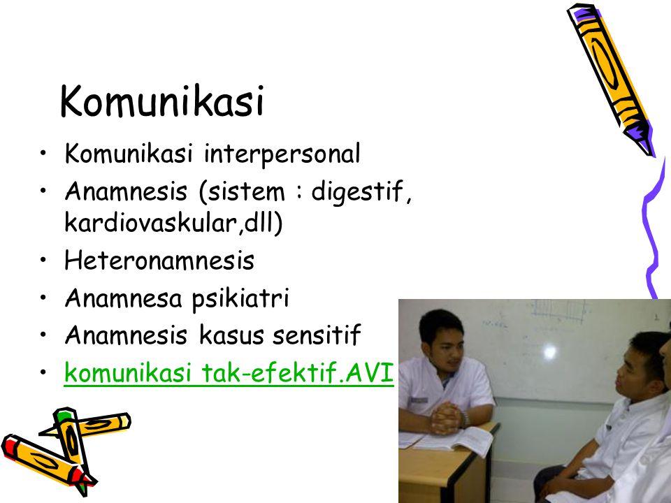 Komunikasi Komunikasi interpersonal Anamnesis (sistem : digestif, kardiovaskular,dll) Heteronamnesis Anamnesa psikiatri Anamnesis kasus sensitif komun