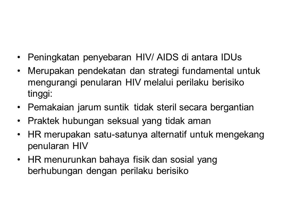 Peningkatan penyebaran HIV/ AIDS di antara IDUs Merupakan pendekatan dan strategi fundamental untuk mengurangi penularan HIV melalui perilaku berisiko