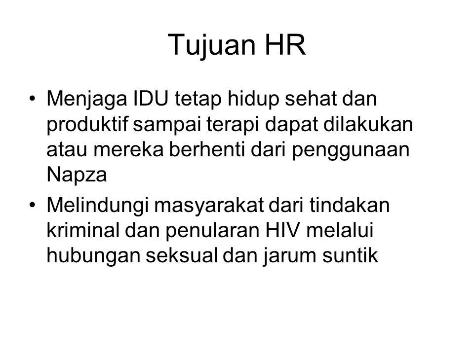 Tujuan HR Menjaga IDU tetap hidup sehat dan produktif sampai terapi dapat dilakukan atau mereka berhenti dari penggunaan Napza Melindungi masyarakat d