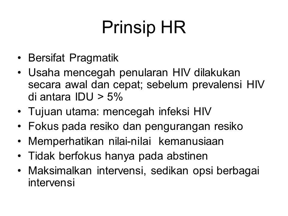 Prinsip HR Bersifat Pragmatik Usaha mencegah penularan HIV dilakukan secara awal dan cepat; sebelum prevalensi HIV di antara IDU > 5% Tujuan utama: me