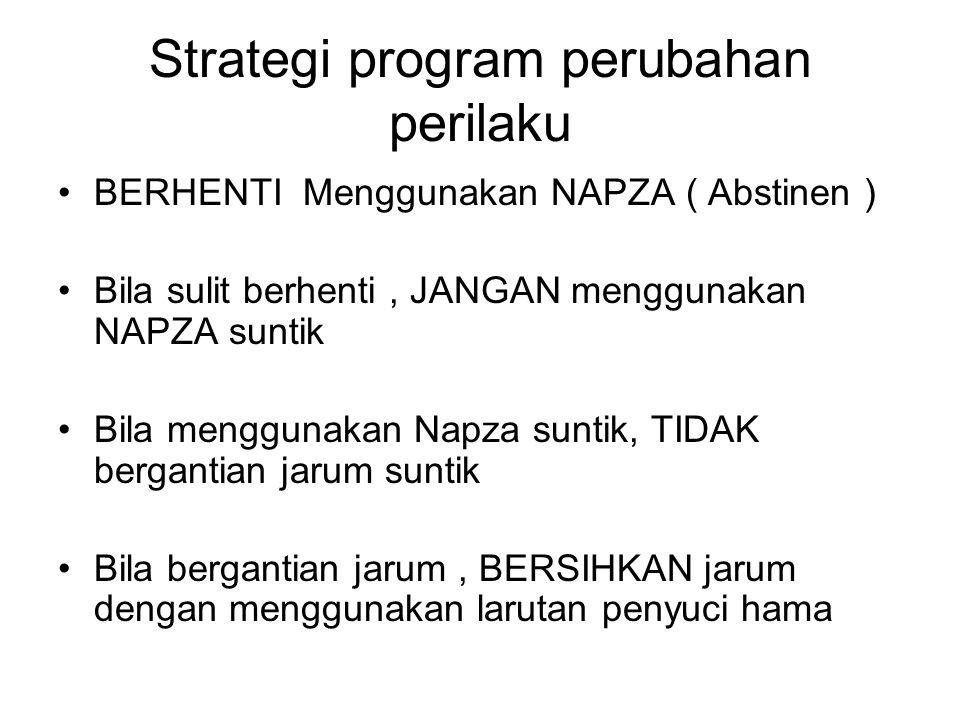 Strategi program perubahan perilaku BERHENTI Menggunakan NAPZA ( Abstinen ) Bila sulit berhenti, JANGAN menggunakan NAPZA suntik Bila menggunakan Napz