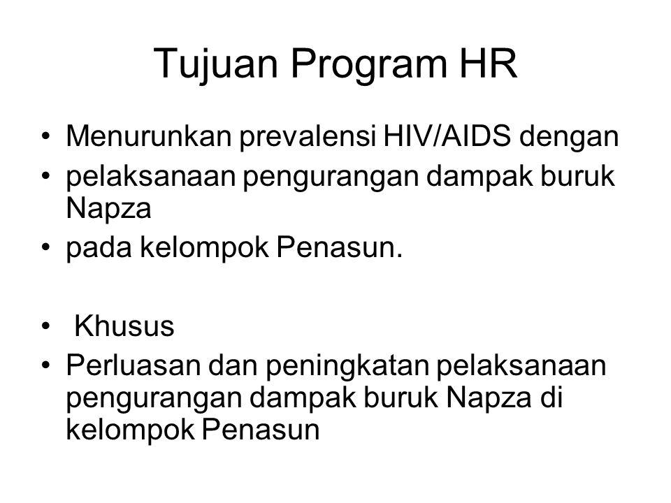Tujuan Program HR Menurunkan prevalensi HIV/AIDS dengan pelaksanaan pengurangan dampak buruk Napza pada kelompok Penasun. Khusus Perluasan dan peningk