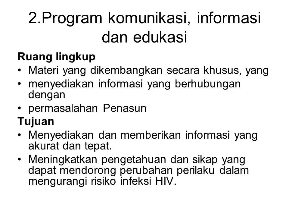 2.Program komunikasi, informasi dan edukasi Ruang lingkup Materi yang dikembangkan secara khusus, yang menyediakan informasi yang berhubungan dengan p