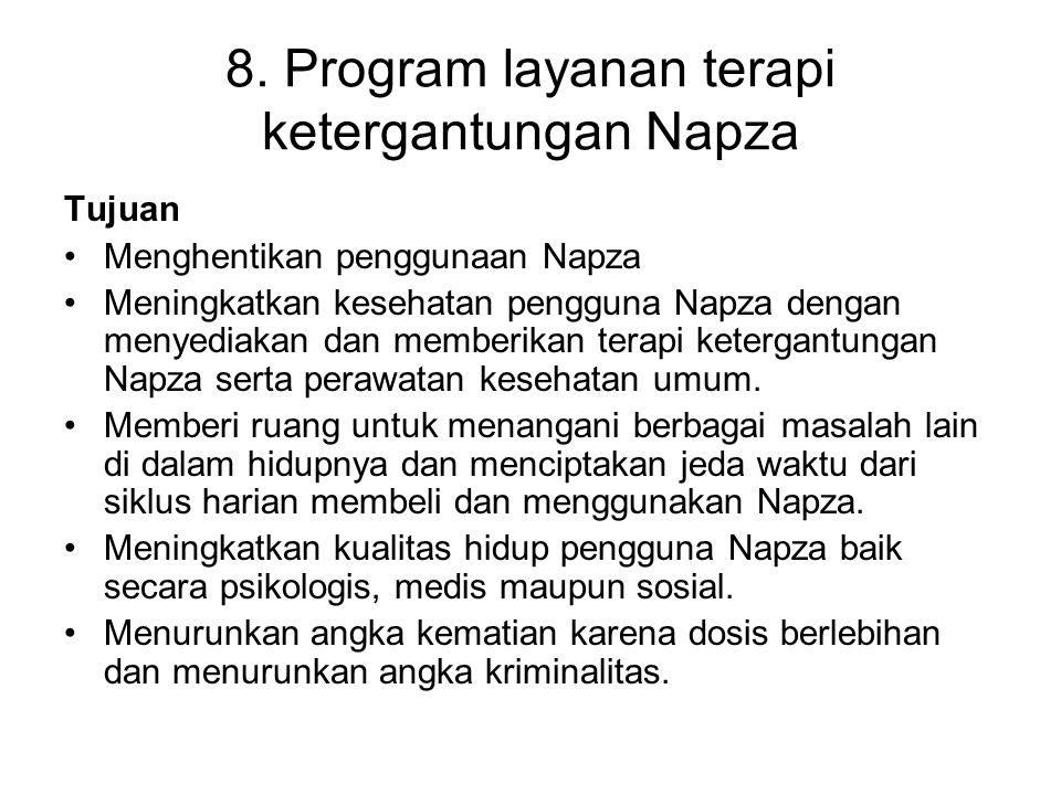 8. Program layanan terapi ketergantungan Napza Tujuan Menghentikan penggunaan Napza Meningkatkan kesehatan pengguna Napza dengan menyediakan dan membe