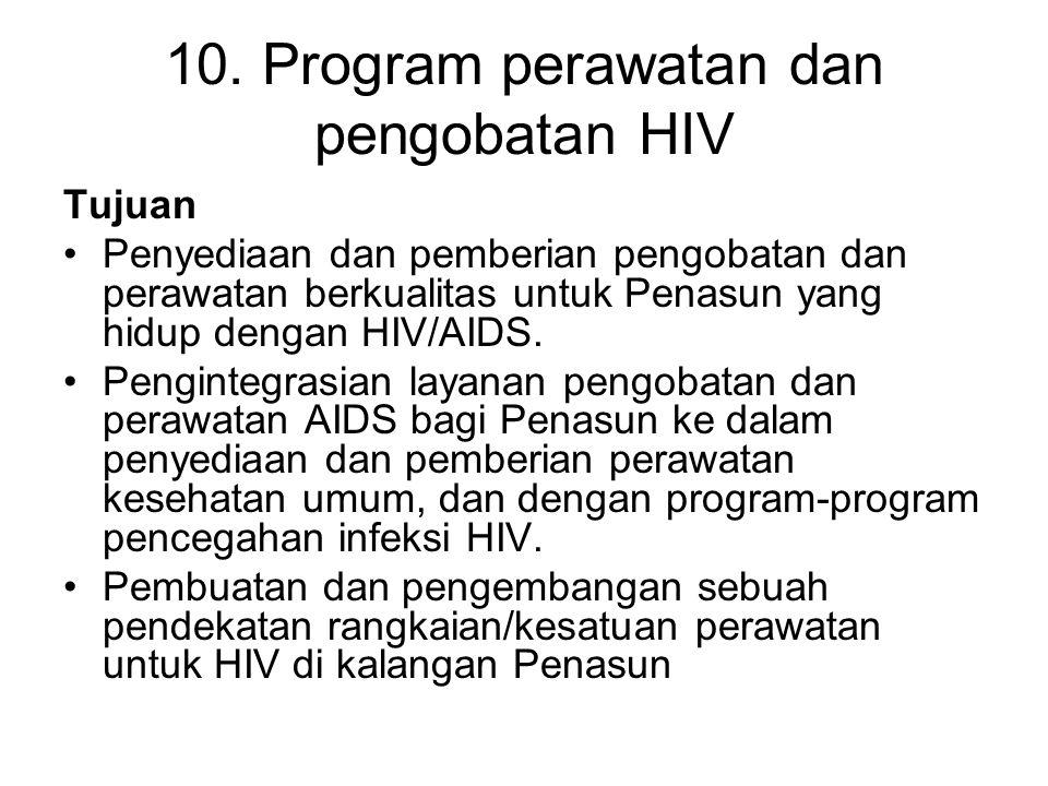 10. Program perawatan dan pengobatan HIV Tujuan Penyediaan dan pemberian pengobatan dan perawatan berkualitas untuk Penasun yang hidup dengan HIV/AIDS
