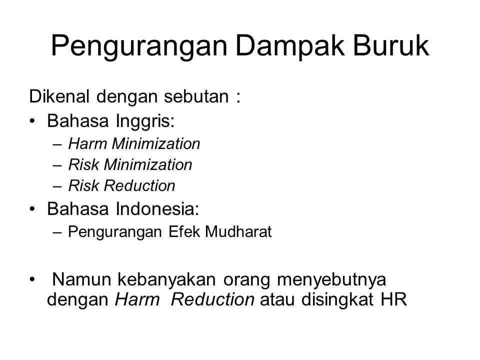 Pengurangan Dampak Buruk Dikenal dengan sebutan : Bahasa Inggris: –Harm Minimization –Risk Minimization –Risk Reduction Bahasa Indonesia: –Pengurangan