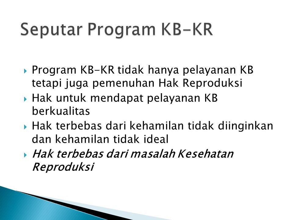  Program KB-KR tidak hanya pelayanan KB tetapi juga pemenuhan Hak Reproduksi  Hak untuk mendapat pelayanan KB berkualitas  Hak terbebas dari kehami