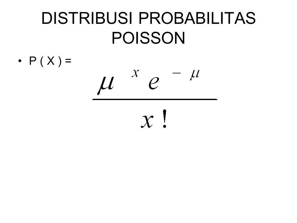 DISTRIBUSI PROBABILITAS POISSON P ( X ) =
