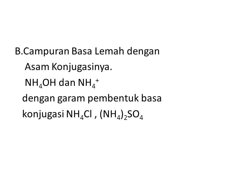 A.Campuran Asam Lemah dengan basa Konjugasinya. CH 3 COOH dan CH 3 COO - dengan garam pembentuk basa konjugasi CH 3 COONa, CH 3 COOK dll. Komponen pem