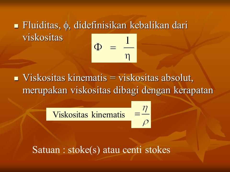 Fluiditas, , didefinisikan kebalikan dari viskositas Fluiditas, , didefinisikan kebalikan dari viskositas Viskositas kinematis = viskositas absolut, merupakan viskositas dibagi dengan kerapatan Viskositas kinematis = viskositas absolut, merupakan viskositas dibagi dengan kerapatan Viskositas kinematis Satuan : stoke(s) atau centi stokes