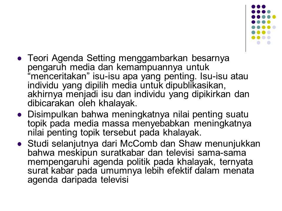 Teori Agenda Setting menggambarkan besarnya pengaruh media dan kemampuannya untuk menceritakan isu-isu apa yang penting.