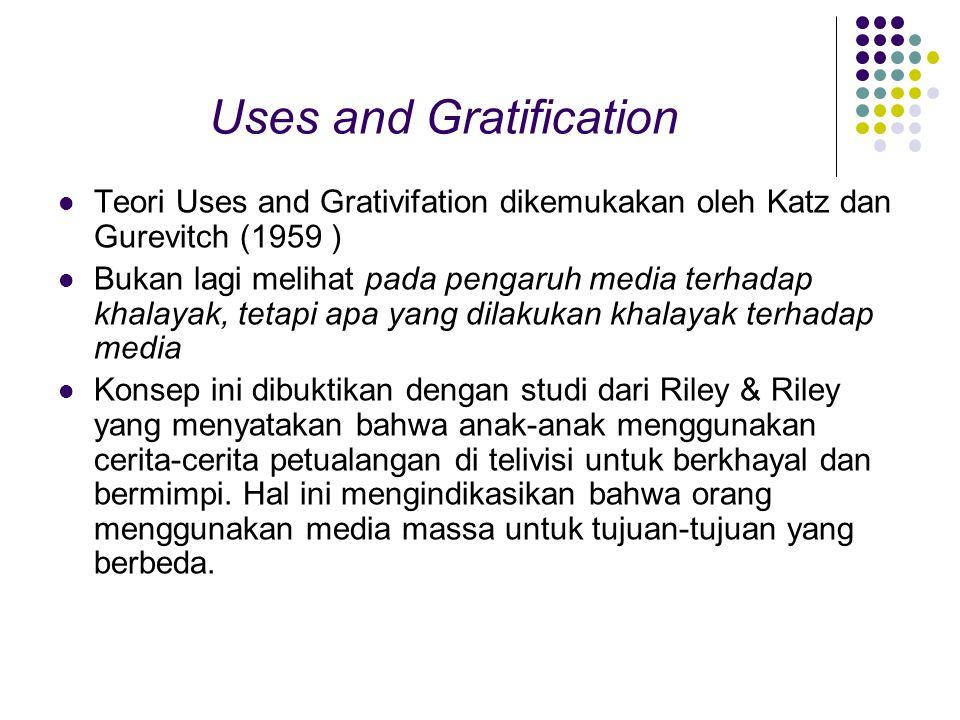 Uses and Gratification Teori Uses and Grativifation dikemukakan oleh Katz dan Gurevitch (1959 ) Bukan lagi melihat pada pengaruh media terhadap khalayak, tetapi apa yang dilakukan khalayak terhadap media Konsep ini dibuktikan dengan studi dari Riley & Riley yang menyatakan bahwa anak-anak menggunakan cerita-cerita petualangan di telivisi untuk berkhayal dan bermimpi.