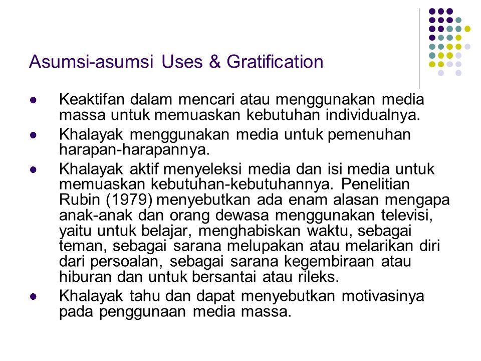 Asumsi-asumsi Uses & Gratification Keaktifan dalam mencari atau menggunakan media massa untuk memuaskan kebutuhan individualnya. Khalayak menggunakan
