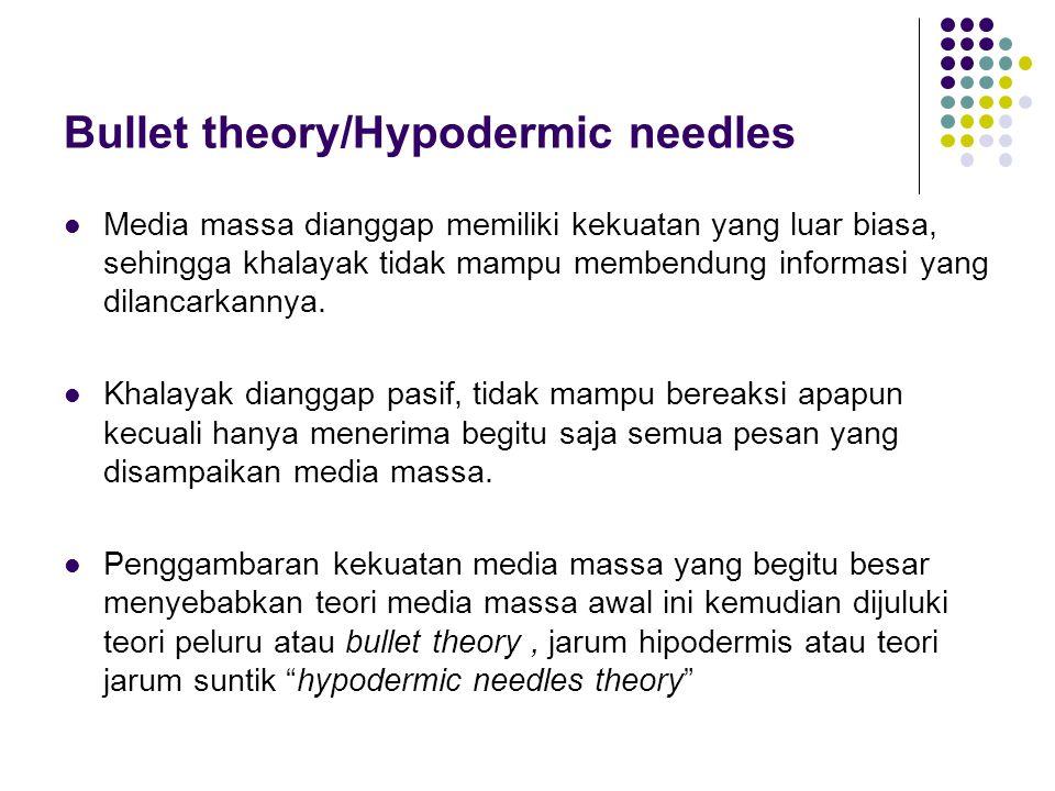Bullet theory/Hypodermic needles Media massa dianggap memiliki kekuatan yang luar biasa, sehingga khalayak tidak mampu membendung informasi yang dilan