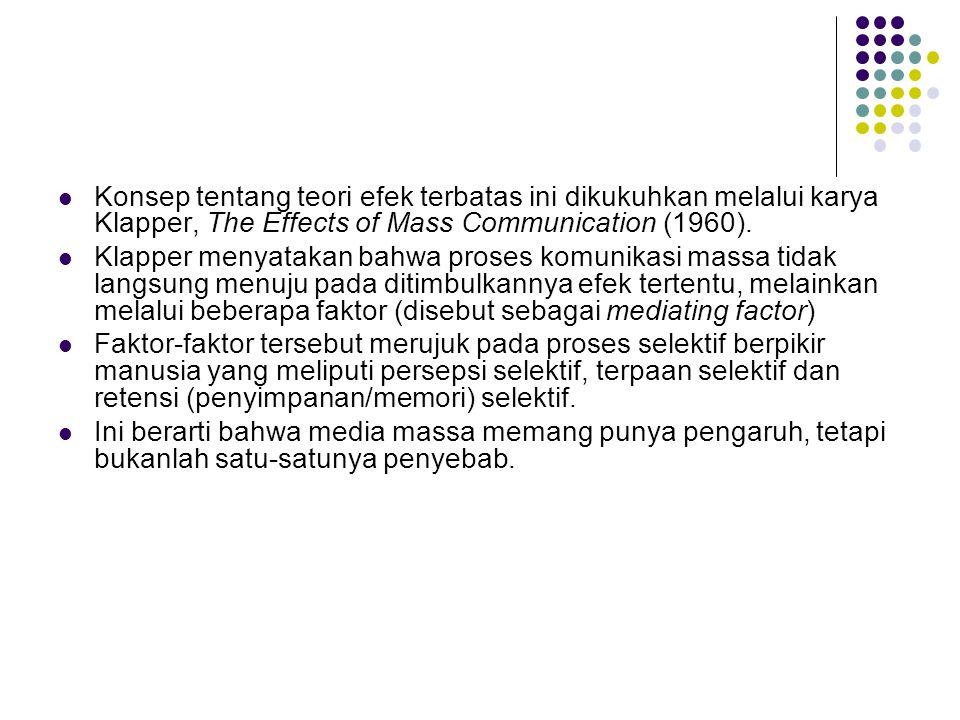 Konsep tentang teori efek terbatas ini dikukuhkan melalui karya Klapper, The Effects of Mass Communication (1960). Klapper menyatakan bahwa proses kom