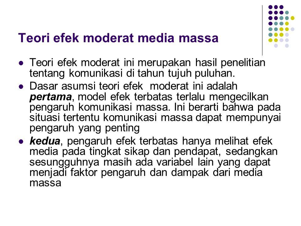 Teori efek moderat media massa Teori efek moderat ini merupakan hasil penelitian tentang komunikasi di tahun tujuh puluhan. Dasar asumsi teori efek mo
