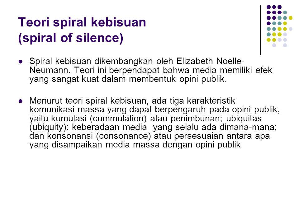 Teori spiral kebisuan (spiral of silence) Spiral kebisuan dikembangkan oleh Elizabeth Noelle- Neumann. Teori ini berpendapat bahwa media memiliki efek