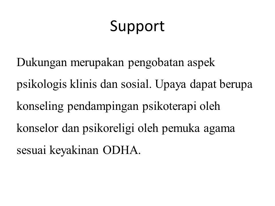Support Dukungan merupakan pengobatan aspek psikologis klinis dan sosial. Upaya dapat berupa konseling pendampingan psikoterapi oleh konselor dan psik