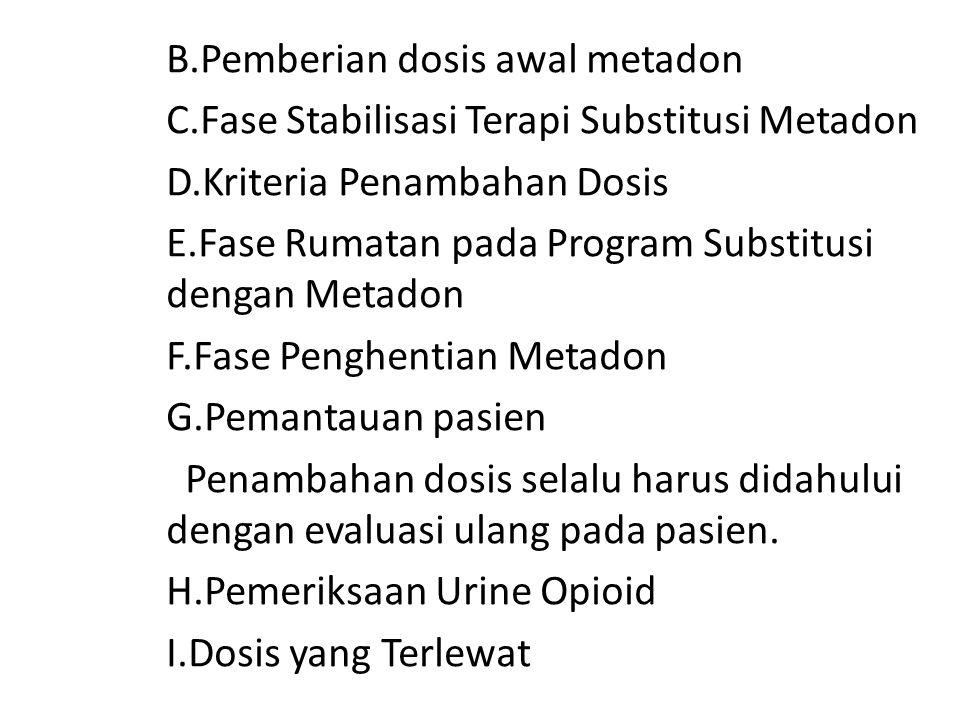 B.Pemberian dosis awal metadon C.Fase Stabilisasi Terapi Substitusi Metadon D.Kriteria Penambahan Dosis E.Fase Rumatan pada Program Substitusi dengan