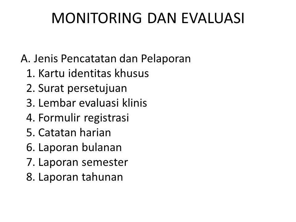 MONITORING DAN EVALUASI A.Jenis Pencatatan dan Pelaporan 1.