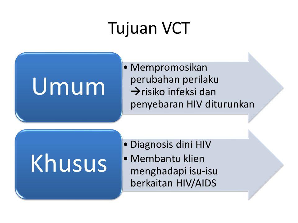 Tujuan VCT Mempromosikan perubahan perilaku  risiko infeksi dan penyebaran HIV diturunkan Umum Diagnosis dini HIV Membantu klien menghadapi isu-isu berkaitan HIV/AIDS Khusus