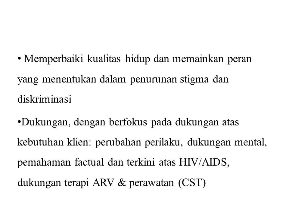 Memperbaiki kualitas hidup dan memainkan peran yang menentukan dalam penurunan stigma dan diskriminasi Dukungan, dengan berfokus pada dukungan atas kebutuhan klien: perubahan perilaku, dukungan mental, pemahaman factual dan terkini atas HIV/AIDS, dukungan terapi ARV & perawatan (CST)