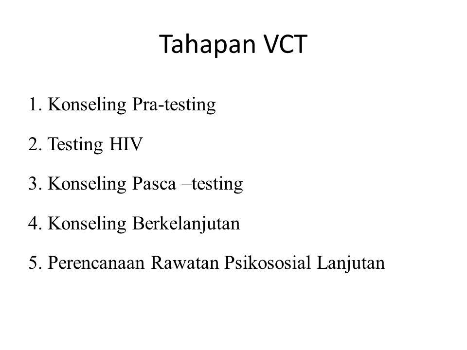 Tahapan VCT 1. Konseling Pra-testing 2. Testing HIV 3. Konseling Pasca –testing 4. Konseling Berkelanjutan 5. Perencanaan Rawatan Psikososial Lanjutan