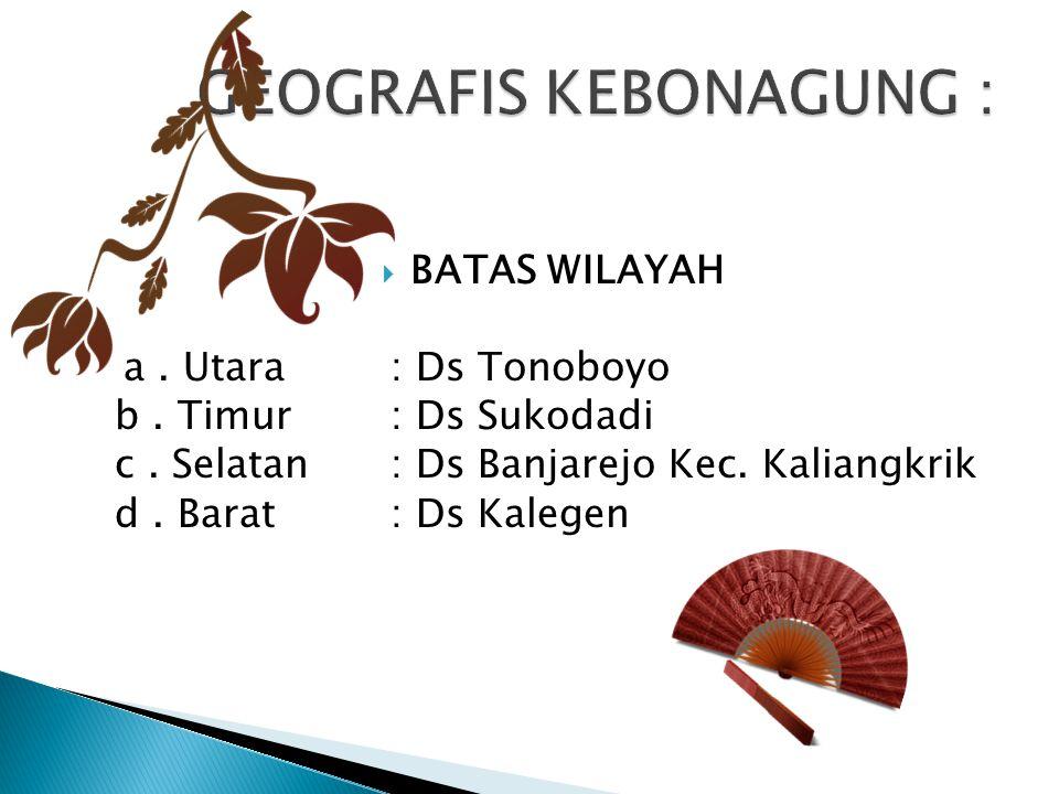  BATAS WILAYAH a. Utara: Ds Tonoboyo b. Timur: Ds Sukodadi c. Selatan: Ds Banjarejo Kec. Kaliangkrik d. Barat: Ds Kalegen