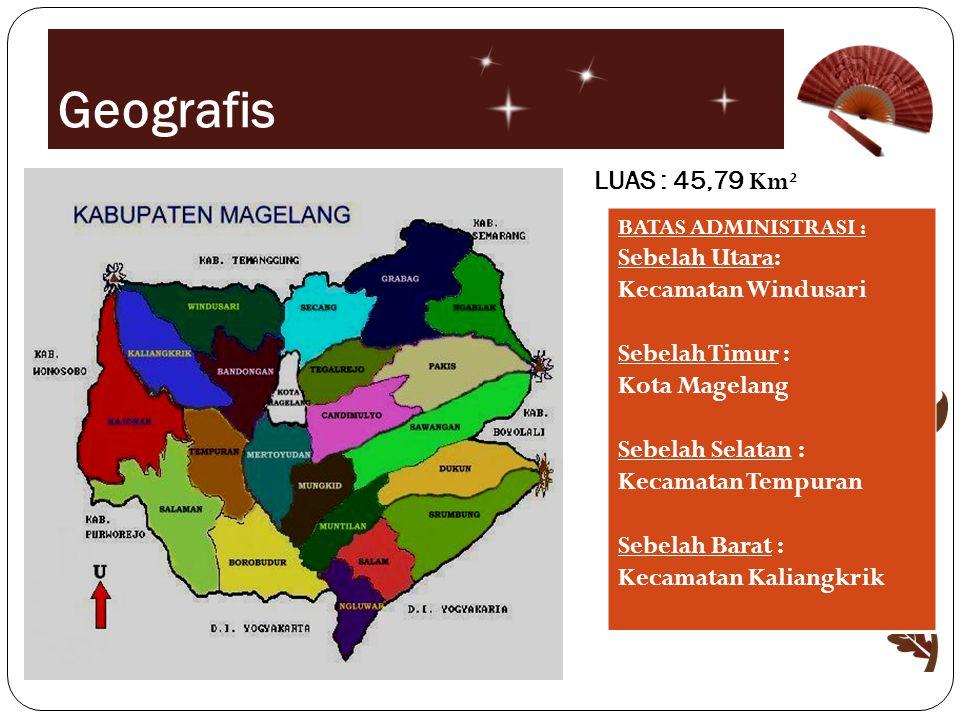Geografis LUAS : 45,79 Km² BATAS ADMINISTRASI : Sebelah Utara: Kecamatan Windusari Sebelah Timur : Kota Magelang Sebelah Selatan : Kecamatan Tempuran Sebelah Barat : Kecamatan Kaliangkrik