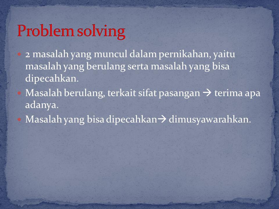 2 masalah yang muncul dalam pernikahan, yaitu masalah yang berulang serta masalah yang bisa dipecahkan. Masalah berulang, terkait sifat pasangan  ter