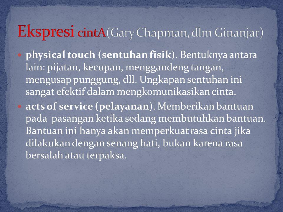 physical touch (sentuhan fisik). Bentuknya antara lain: pijatan, kecupan, menggandeng tangan, mengusap punggung, dll. Ungkapan sentuhan ini sangat efe