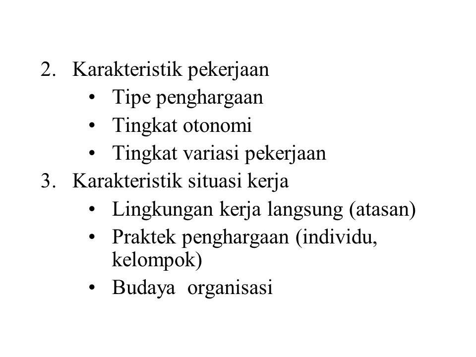 2.Karakteristik pekerjaan Tipe penghargaan Tingkat otonomi Tingkat variasi pekerjaan 3.Karakteristik situasi kerja Lingkungan kerja langsung (atasan) Praktek penghargaan (individu, kelompok) Budaya organisasi
