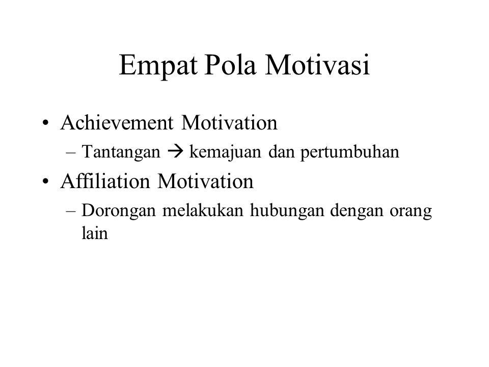 Competence Motivation –Dorongan untuk berprestasi  mutu pekerjaan Power Motivation –Dorongan untuk mengendalikan keadaan –Mengambil resiko dalam bertindak –Perlu didukung oleh ke tiga pola yang lain.