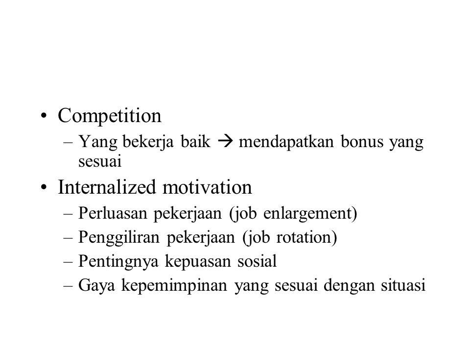 Competition –Yang bekerja baik  mendapatkan bonus yang sesuai Internalized motivation –Perluasan pekerjaan (job enlargement) –Penggiliran pekerjaan (job rotation) –Pentingnya kepuasan sosial –Gaya kepemimpinan yang sesuai dengan situasi