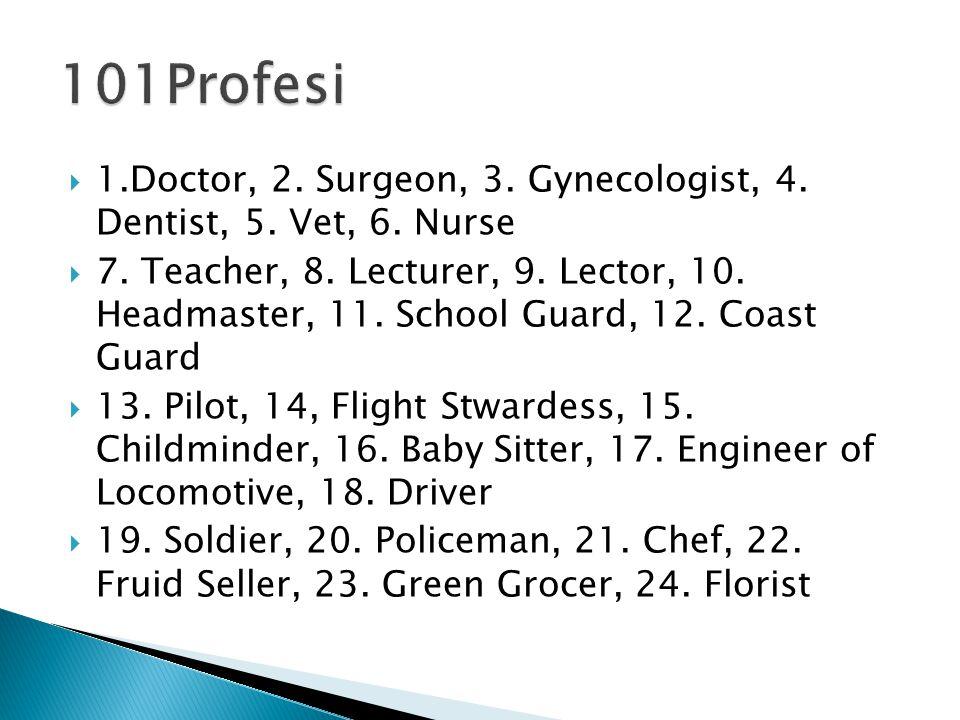  25.Fireman, 26. Farmer, 27. Fisherman, 28. Sailor, 29.