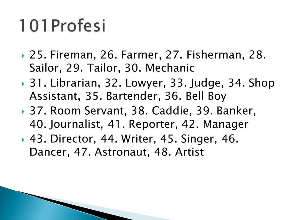  25. Fireman, 26. Farmer, 27. Fisherman, 28. Sailor, 29.