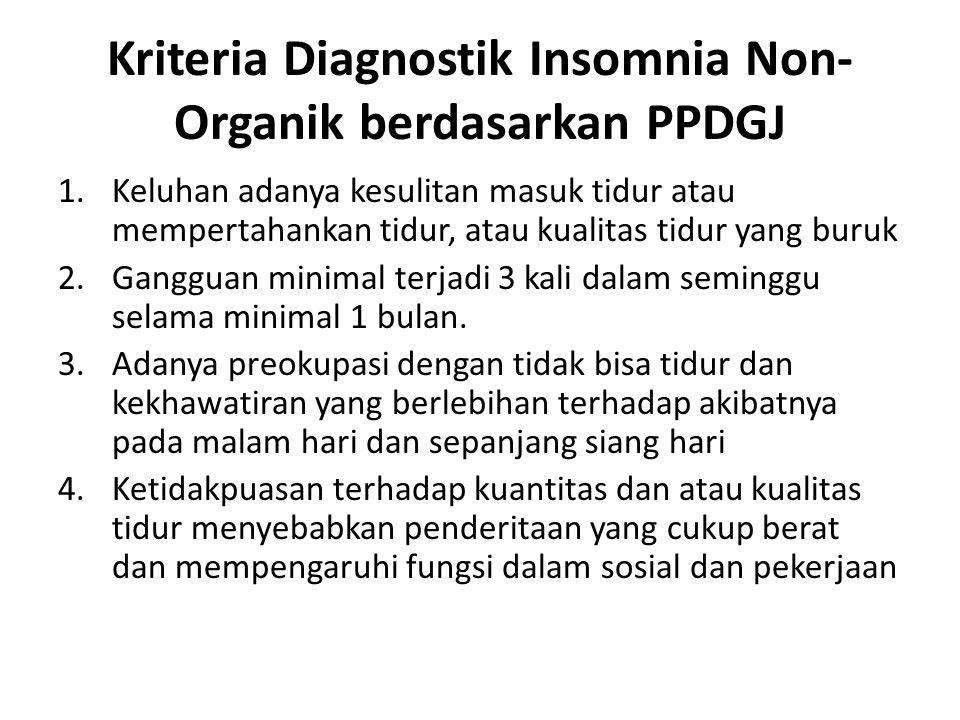Kriteria Diagnostik Insomnia Non- Organik berdasarkan PPDGJ 1.Keluhan adanya kesulitan masuk tidur atau mempertahankan tidur, atau kualitas tidur yang buruk 2.Gangguan minimal terjadi 3 kali dalam seminggu selama minimal 1 bulan.