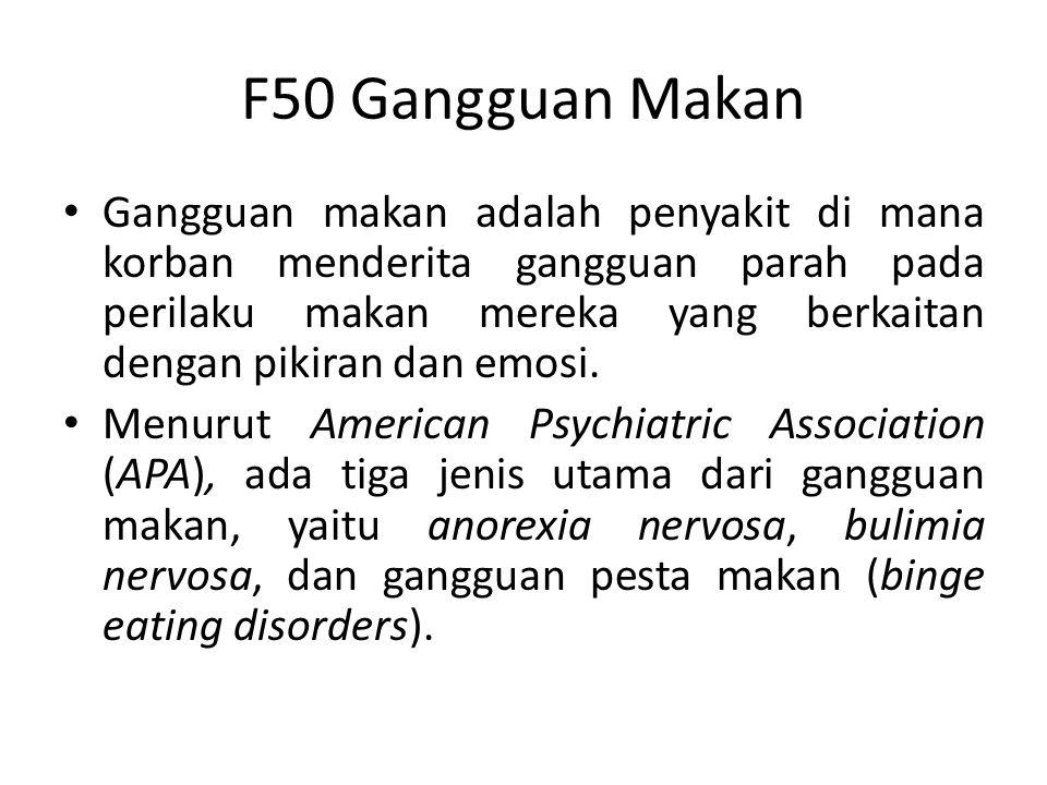 F50 Gangguan Makan Gangguan makan adalah penyakit di mana korban menderita gangguan parah pada perilaku makan mereka yang berkaitan dengan pikiran dan emosi.