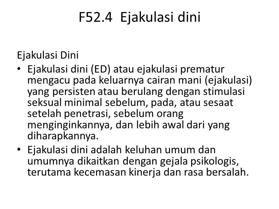 F52.4 Ejakulasi dini Ejakulasi Dini Ejakulasi dini (ED) atau ejakulasi prematur mengacu pada keluarnya cairan mani (ejakulasi) yang persisten atau berulang dengan stimulasi seksual minimal sebelum, pada, atau sesaat setelah penetrasi, sebelum orang menginginkannya, dan lebih awal dari yang diharapkannya.